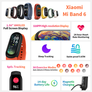 Image 2 - Xiaomi Mi Band 6 חכם צמיד AMOLED דם חמצן Bluetooth כושר קצב לב Traker עמיד למים Miband 6