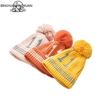 2019 New Fashion Children Winter Hats Baby Kids Girl Solid Knitted Beanies Caps Hair Ball Thick Boys Girls Warm Hat