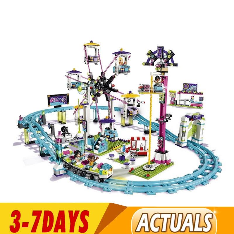 DHL IN Stock 01008 1024pcs Compatible 41130 Blocks Friends Amusement Park Roller Coaster Figure Model Building Toys Children 1