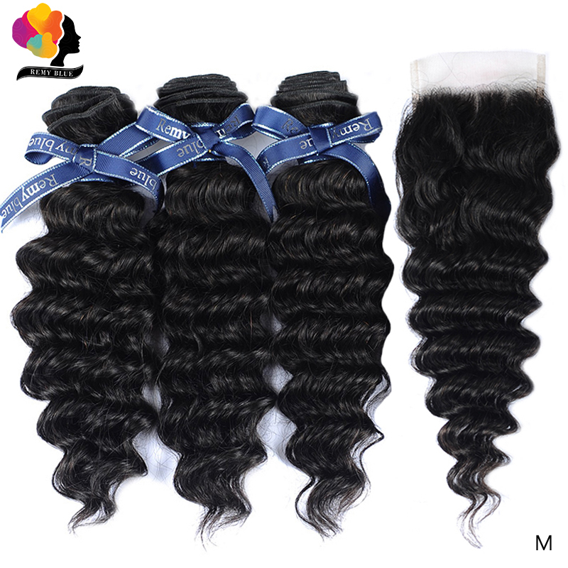 Remyblue Peruvian Hair Bundles With Closure 100% Remy Deep Wave Human Hair 3 Bundles With Closure Natural Color For Black Women
