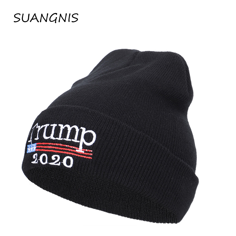 2019 New Autumn Winter Election Embroidery TRUMP 2020 Election Knitted Hat Streetwear Outdoor Beanies for Men Women Skullies