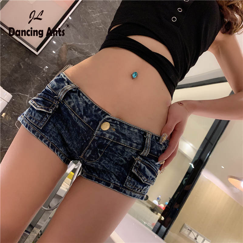 Women Booty Shorts Skinny Low Waist Sexy Mini Jeans Short Side Zippers Hole Slim Female Denim Hotpants For Party 2020 Fashion