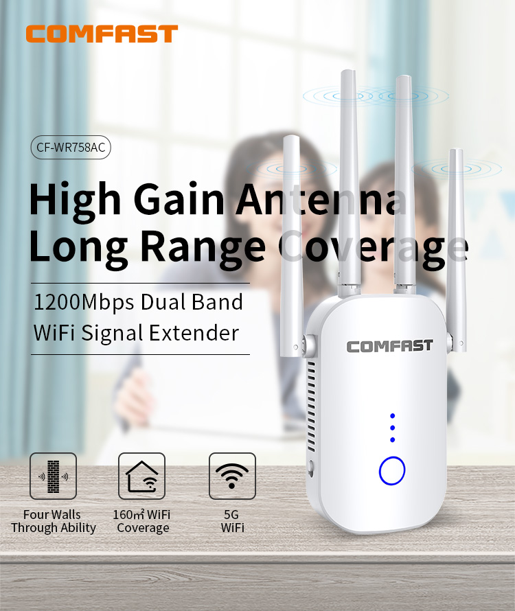 COMFAST CF-WR758AC 1200M Wireless Repeater 5GWIFI Signal Amplifier Repeater