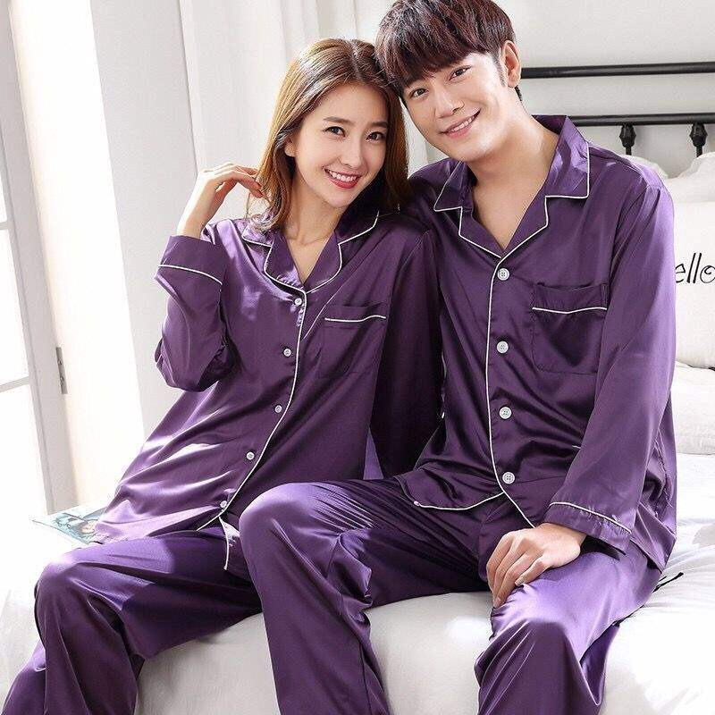 Oversize 6XL Purple Spring Women Nightwear 2pc Shirt Pants Sleep Pajamas Sets Sleepwear Faux Silk Silky Nightgown Robe Bath Gown