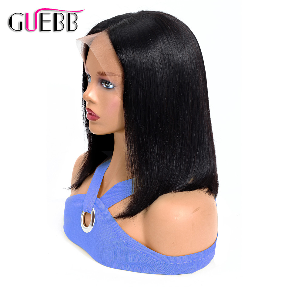 GUEBB 13 4 Straight Bob Wig Lace Front Human Hair Wigs Peruvian Natural Color Remy Hair