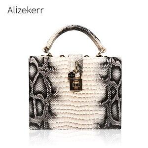 Image 1 - 뱀 인쇄 상자 핸드백 여자 사문석 잠금 작은 사각형 PU 저녁 클러치 숄더 가방 숙녀 저녁 파티 지갑 성격