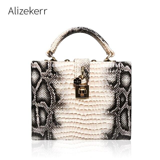 뱀 인쇄 상자 핸드백 여자 사문석 잠금 작은 사각형 PU 저녁 클러치 숄더 가방 숙녀 저녁 파티 지갑 성격