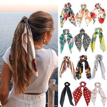 Accesorios para el cabello con estampado para mujer, cintas para bufanda larga, coletero con lazo elegante, gomas elásticas para el pelo para niña