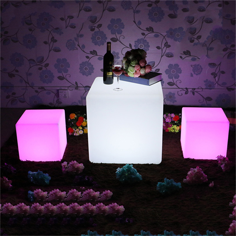 RGB Rechargeable Cube Led Night Light Lamps Outdoor Illuminated Furniture Cube Chair Bar KTV Pub Plastic Tables Light