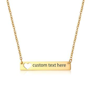 BONISKISS Fashion Simple Stainless Steel Hollow Love Long Pendant Lady Necklace Free Engraving Gold Color Charm Customized Gift брюки lady charm