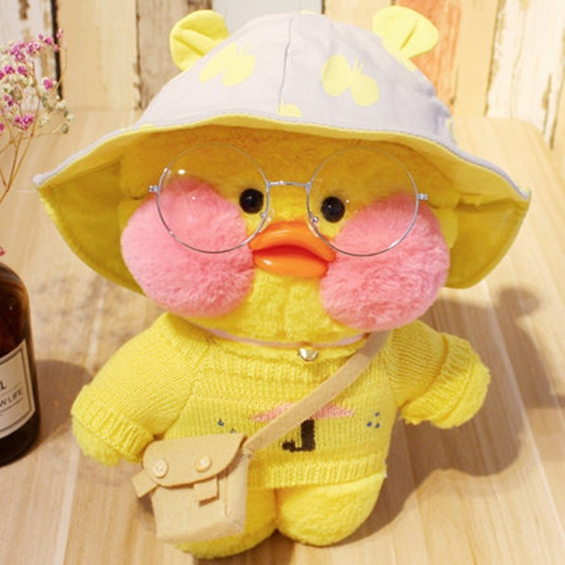 30CM Pink LaLafanfan Kawaii Cafe Mimi Yellow Duck Plush Toy Cute Stuffed Doll Soft Animal Dolls Kids Toys Birthday Gift For Girl