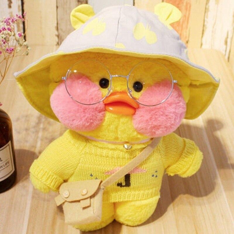 Boneco de pelúcia do pato amarelo do mimi, 30cm, rosa, afanventilador kawaii, brinquedo de pelúcia, boneco de animal macio, bonecos de aniversário para crianças presente para a menina