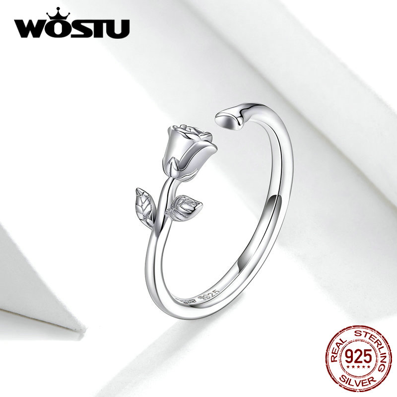 WOSTU Genuine 925 Sterling Silver Wedding Ring Delicate Rose Flower Adjustable Rings Finger For Women Fashion Jewelry FNR065