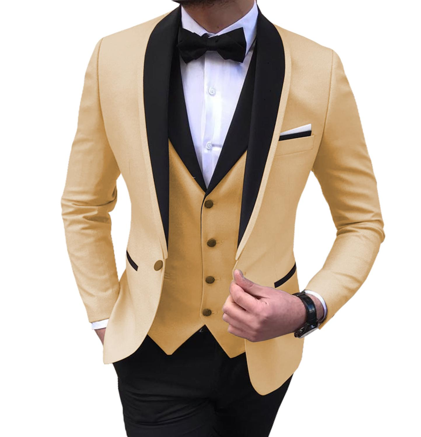 Champagne/White Mens Suits 3 Piece V Neck Shawl Lapel Casual Tuxedos For Wedding Groomsmen Suits Men 2019(Blazer+Vest+Pant)