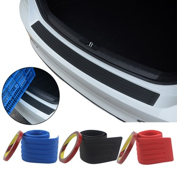 Car Trunk Door Sill Plate Protector Rear Bumper Guard Protector Rubber Pad Trim Anti-Scratch Cover Strip Accessories image