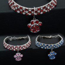 Rhinestone Products for Dogs Cute Paw Dog Collar 20/25/33CM Blue/Red/Pink Adjustable Perro For Small Medium Cat D40