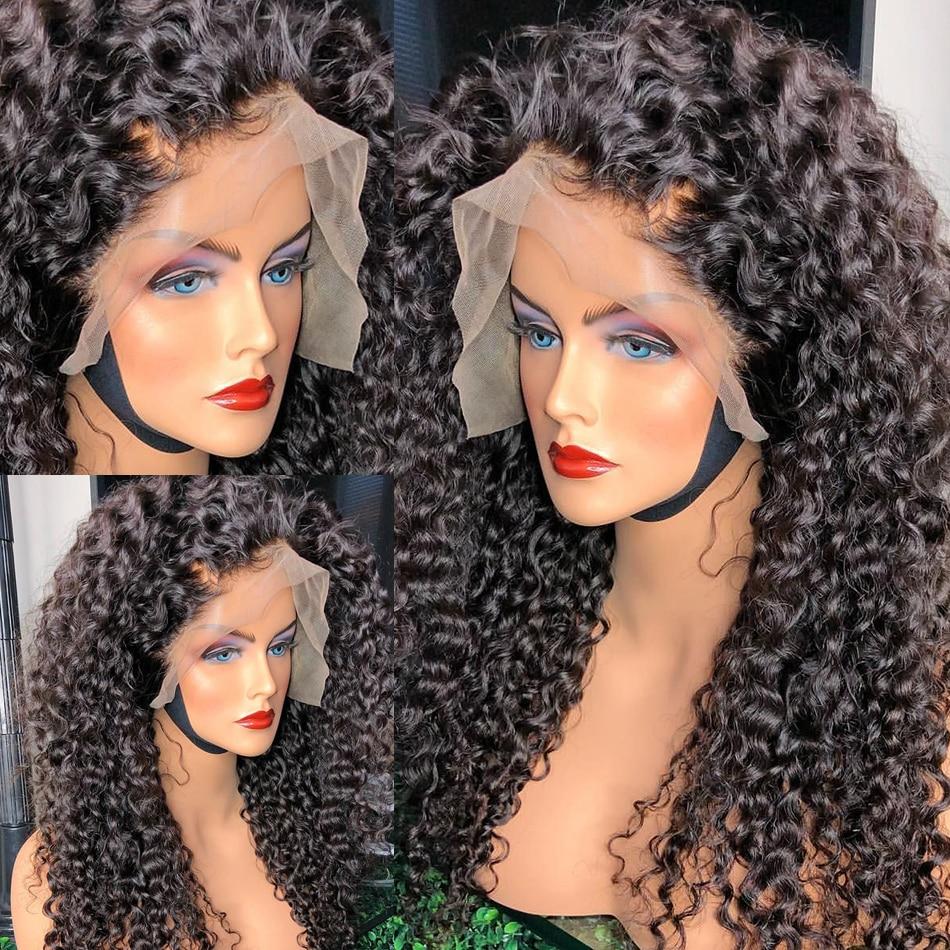 Rosabeauty água brasileira encaracolado 13x4 frente do laço perucas de cabelo humano 26 28 30 Polegada onda profunda longa peruca frontal para preto