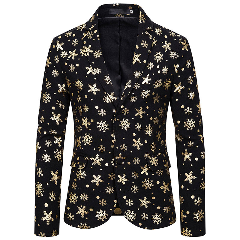 Snow Christmas Bronzing Blazer Men Fashion Slim Fit Mens Blazer Jacket Cosplay Stage Party Suit Jacket Blazer Masculino Costume