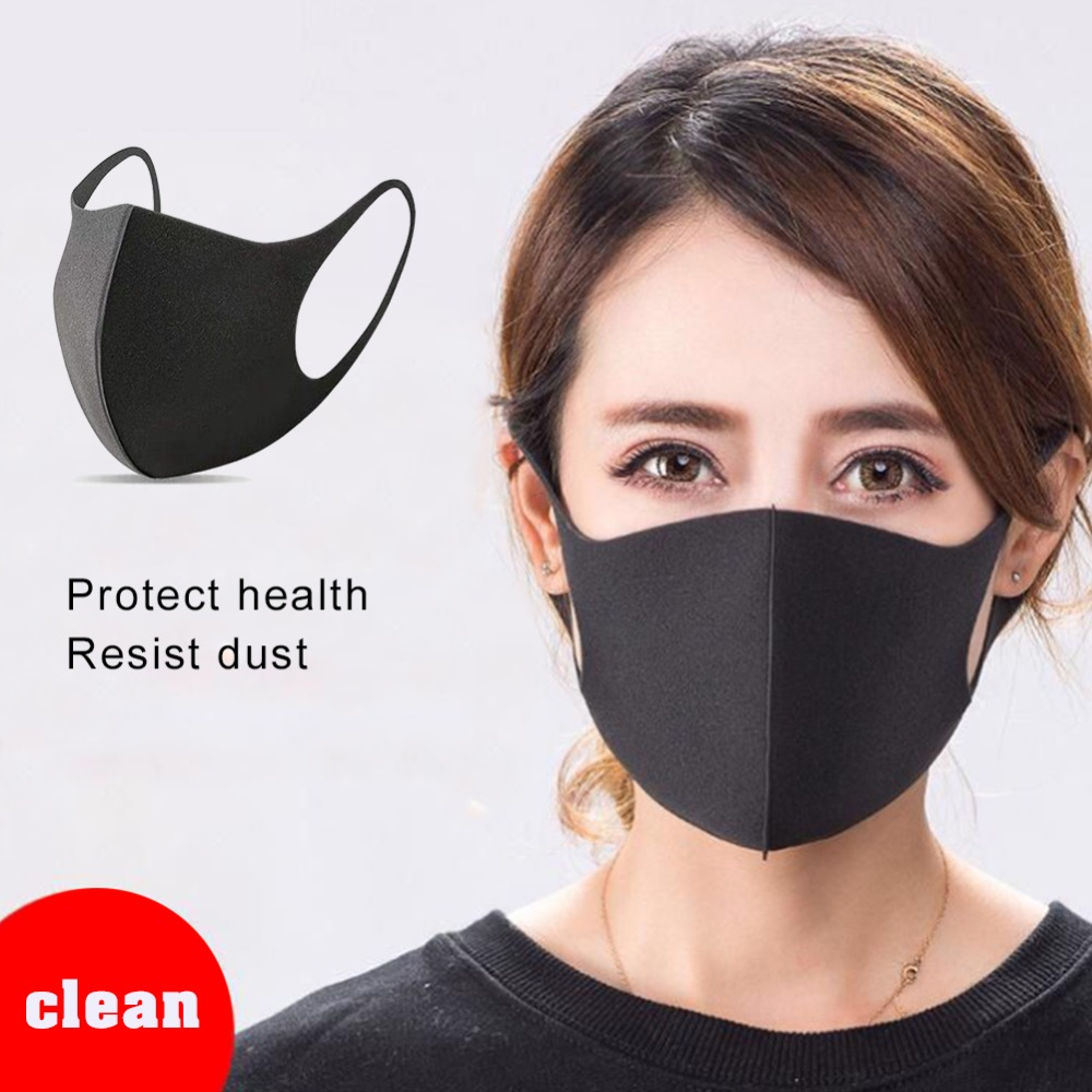 Black Washable Mouth Mask Breathable Unisex Dust-proof Sponge Face Masks Reusable Anti Pollution Shield Wind Proof Mouth Cover