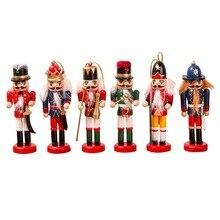 6 Pcs set Wood Nutcracker Puppet Christmas Wooden Handmade Crafts Home Shop Desktop Ornament Decoration Birthday