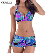 2019 Sexy Push Up Swimsuit Vintage Print Swimwear Plus Size Bikini Suit Backless Halter Floral Retro Bathing Suit Summer women B недорого