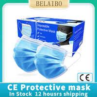 Disposable 3 layers Protective face Masks prevent mascherine Antivirus Bacteria Dust CE Certification protoction mouth Masks