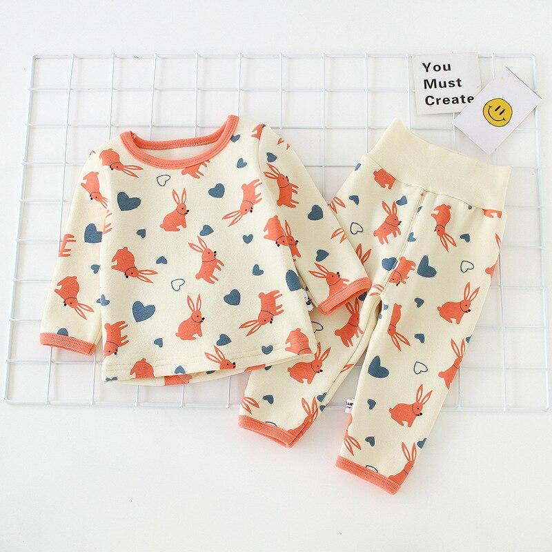 Childrenswear 2018 Winter Fleece Lining Baby Home Wear Korean-style New Style Children Thermal Underwear