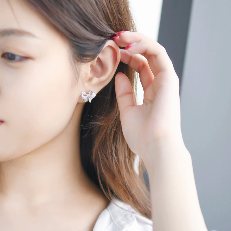 New Arrival S925 Silver Color Cute Bowknot Stud Earrings for Women with Zircon Stone Fashion Korean Earrings Jewelry 2019 New