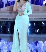 Вечерние платья 2020 Русалка для женщин с длинным рукавом Аппликация