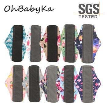 OhBabyKa Washable Sanitary Pads Bamboo Charcoal Cloth Pads Reusable Serviette Hygienique Print Women Menstrual Pads Size S M L
