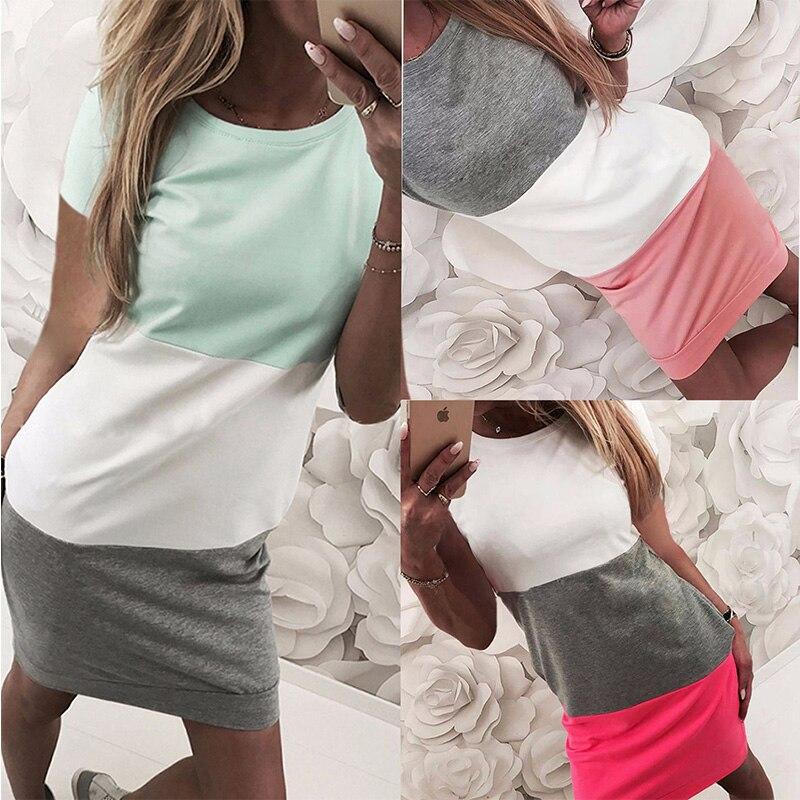 2019 Grey White Short Sleeve Women Casual Mini Shirt Dress Kawaii Pink Grey Patchwork Tee Shirt Dress Streetwear