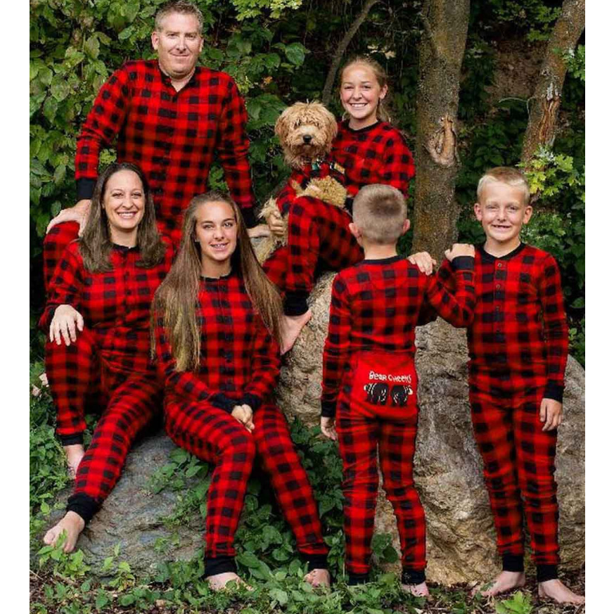 Family Matching Christmas Pajamas Plaid Family Look Mom Mother Daughter Father Pyjamas Jumpsuit Sleepwear Mommy And Me Nightwear