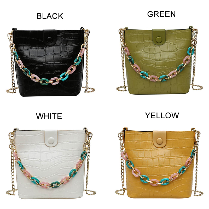 Unique Female Handbag Alligator Fashion Ladies Shoulder Bag Color Beaded Youth Ladies PU Leather High Quality Chain Bag Set in Shoulder Bags from Luggage Bags