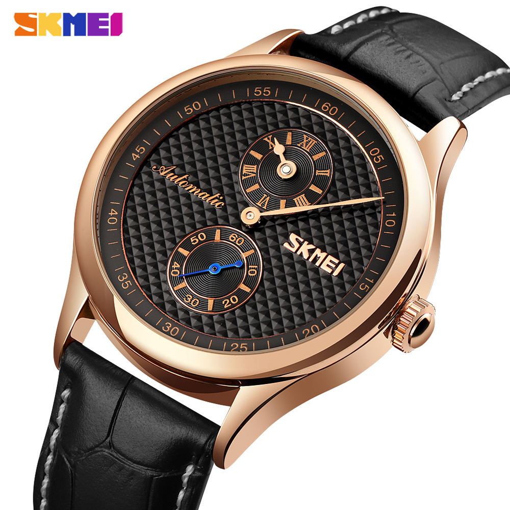 SKMEI Men's Watches Automatic Mechanical For Male Quartz Clock Hollow Dial Waterproof Leather Wristwatches Gifts Reloj Hombre
