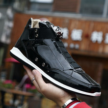 Dropshipping link Men High Top Sneaker Casual Shoes Men Super Cool gold silver botas Male PU Leather Shoes Zapatos De Hombre(China)