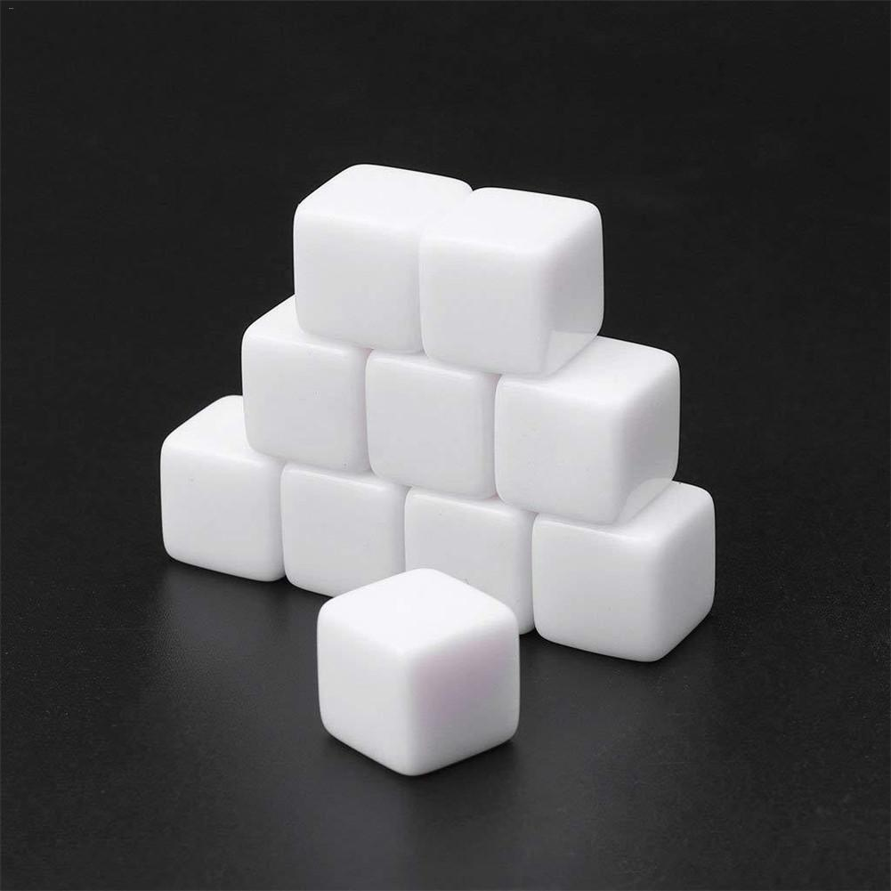20PCS Standard Size Blank Dice D6 Six Sided Acrylic RPG 12mm 16mm 20mm Gaming Dice White For Family Boardgame Playing Game Toys
