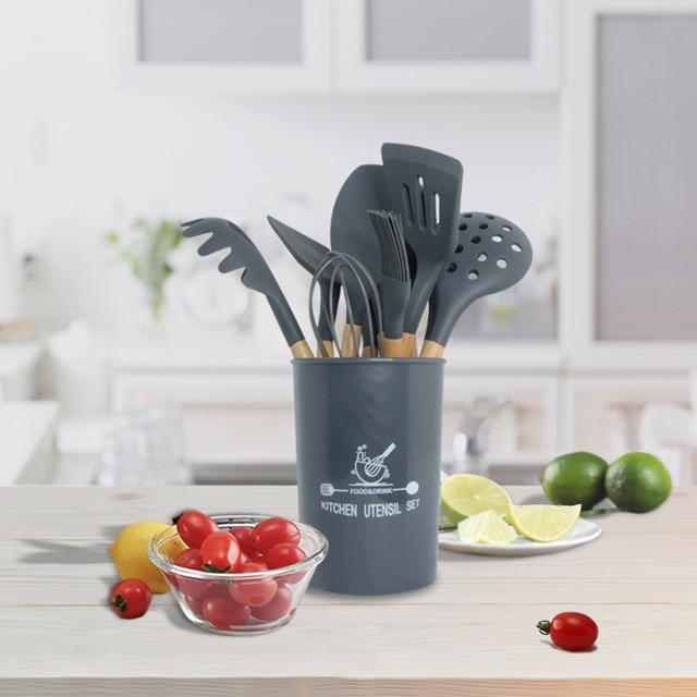 Utensílios de cozinha de silicone conjunto de utensílios de cozinha resistente ao calor cozinha antiaderente utensílios de cozinha ferramentas de cozimento 3