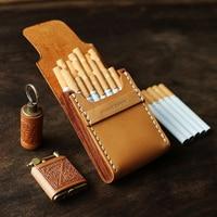 6 Style Ultra thin Wooden Leather Cigarette Case 7/10/20 Sticks Temperament Men Portable Retro Cigarettes Holder Storage Box