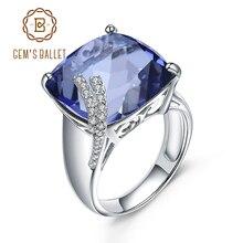 宝石のバレエ本物の 925 純銀製女性ファインジュエリー正方形神秘の水晶のアイオライトラウンドルースビーズブルー宝石リング