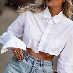 Bclout Casual Crop Top Women Blouses Fashion Turn Down Collar White Shirt Flare Sleeve Blouse Female Autumn Sexy Ladies Tops