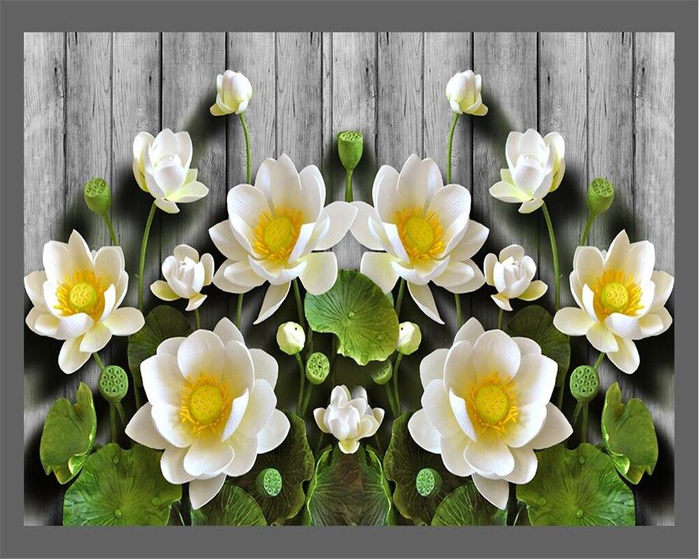 Beibehang-Custom-wallpaper-green-relief-lotus-wood-grain-3d-tv-sofa-background-walls-living-room-bedroom (3)