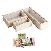 סיליקון סבון תבניות מלבן כיכר סבון עובש עם תיבת עץ בעבודת יד סבון ביצוע כלי