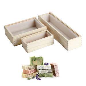 Silicone Soap Molds Wooden-Box Handmade Loaf Rectangle with Soap-Making-Tool