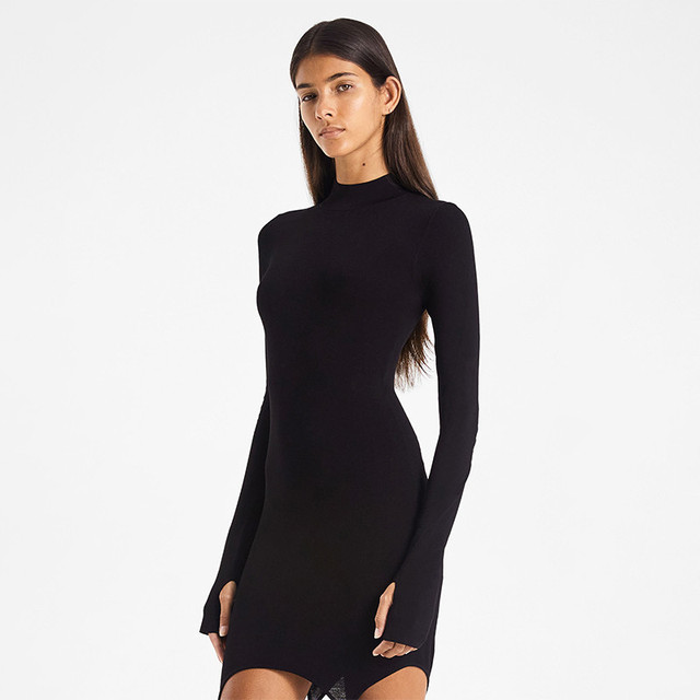 CHRONSTYLE 2020 Sexy Women Dress With Stockings Buckle Pacthwork Dress Club Streetwear Long Sleeve Solid Bodycon Pencil Dresses 6