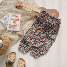 2-8T  Flower Print Pant For Girls Toddler Kid baby Clothes Spring Summer Loose Floral Elegant Cute Sweet Cotton Beach Trousers