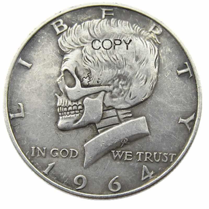 FK(10)Hobo Sáng Tạo 1964 Kennedy Bạc Nửa Đô Đầu Lâu Trái Cây Đại Đồng Hồ Nam Chạm Khắc Bản Sao Đồng Tiền
