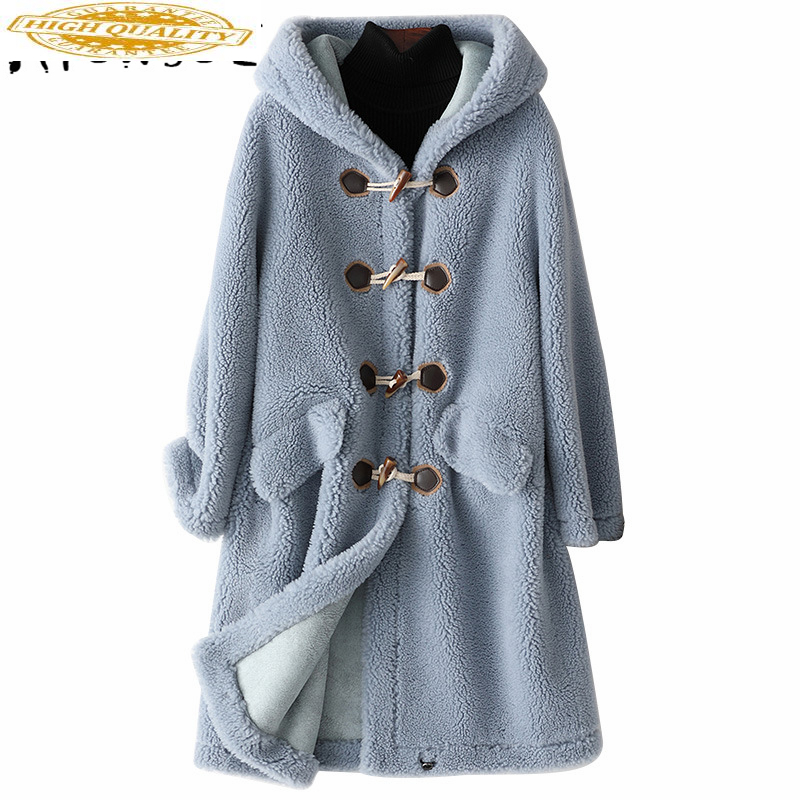 2020 New Wool Real Fur Coat For Women Clothes Winter Sheep Jackets Coats Female Long Hooded Suede Lining Overcoat 978001