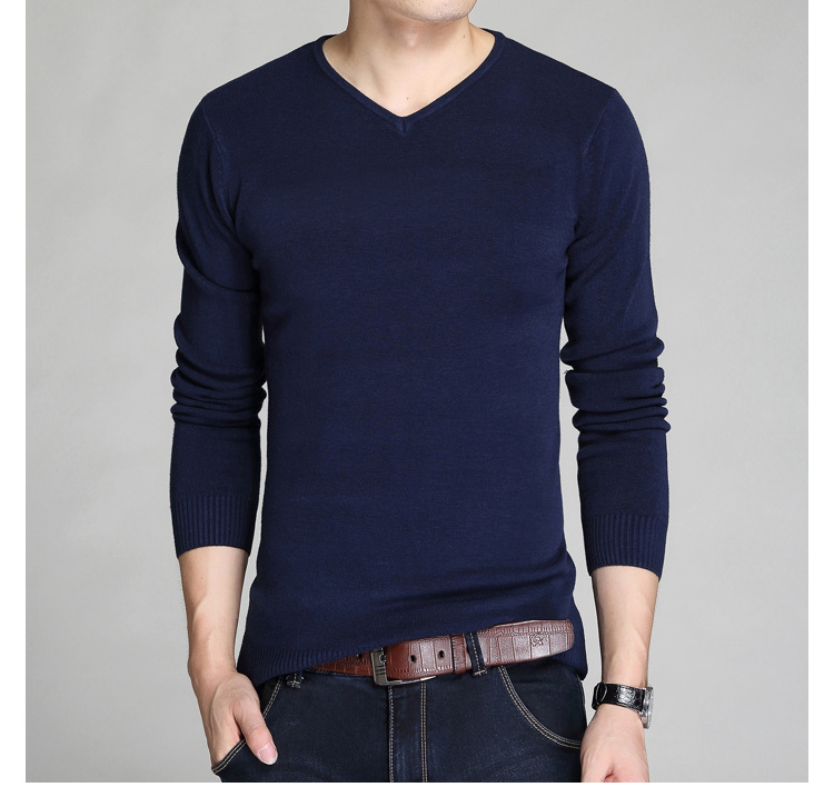 Litthing Mens Sweaters Pull Cashmere-Wool Shirt Slim-Fit V-Neck Knitted Long-Sleeve Homme
