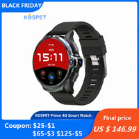 KOSPET Prime 4G Smart Watch Phone 3GB RAM 32GB ROM 1.6 inch IPS Screen Healthcare Sports Android Smartwatch with Dual Cameras 12