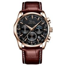 цена на Sport Chronograph Mens Business Watches Leather Brown Top Brand Luxury Quartz Clock Waterproof Big Dial Watch Men